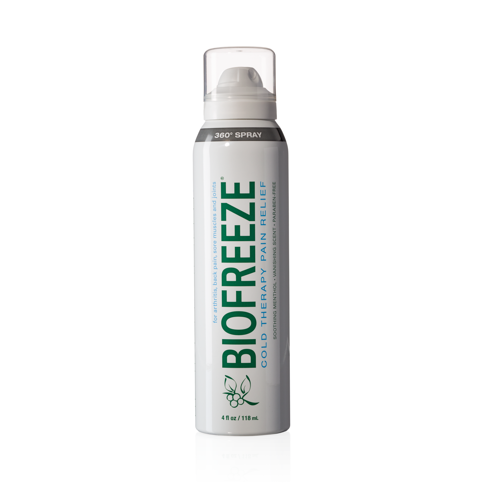 Biofreeze Pain Reliever 360 Continuous Spray, 4 Ounce Tube, Colorless Formula